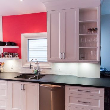 White on Red Kitchen with Black Stone