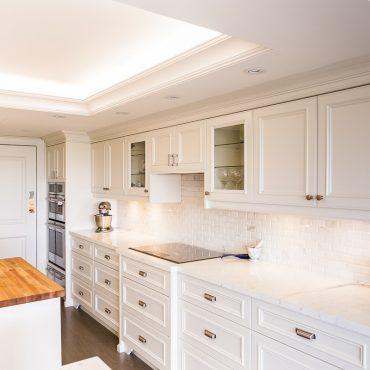 White Kitchen, White Granite – Downtown Toronto Project